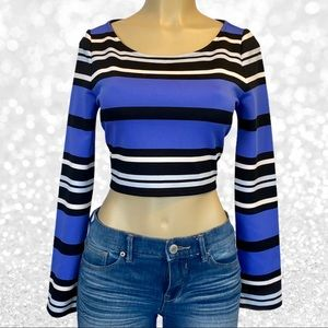 Express Striped Cropped Long Sleeve Top NWT
